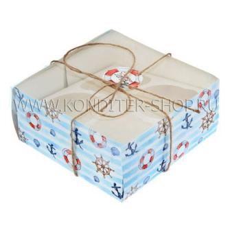 "Коробка на 4 капкейка ""Морской Бриз"""