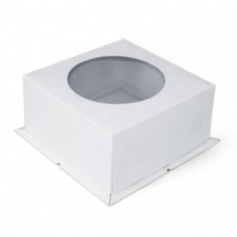 Коробка белая с окном 30*30*19 см, Микрогофра